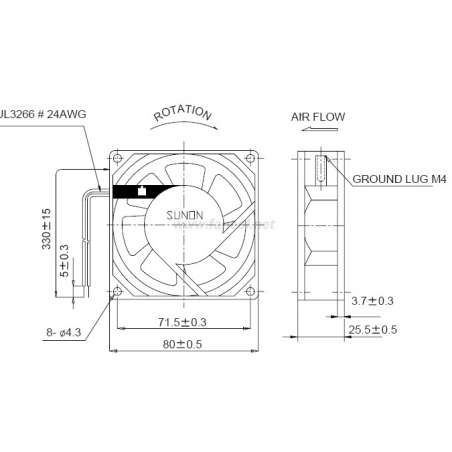 Esquema Ventilador Aluminio Sunon 80 x 80 x 25mm 220V AC