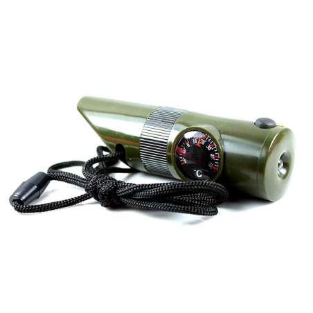 Mini Kit de Supervivencia Acampada 7 en 1 Brújula, Termómetro, Lupa, Linterna, Silbato, Espejo, Pequeño Receptáculo