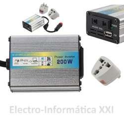 Transformador Inversor 200W 12V DC - 220V AC Adaptador para Coche