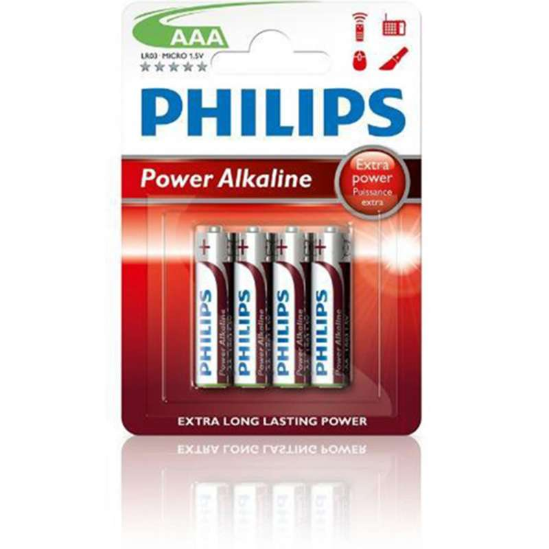 BLISTER 4 PILAS ALCALINAS PHILIPS AAA...