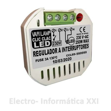 Regulador De Intensidad para Interruptor Varilamp Clic Clac Led 250W