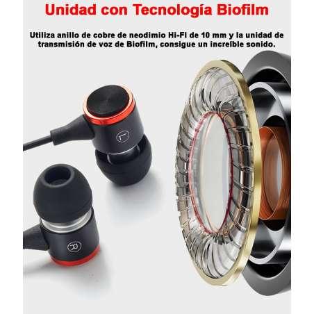 Auriculares Intrauditivos Hi-FI con Manos Libres Control de Volumen Deportivos 3 Tamaños audifonos 120cm cable
