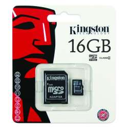 TARJETA DE MEMORIA KINGSTON MICRO SD HC 16GB CLASE 4 + ADAPTADOR